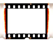 Old 35mm dia film frame with burned edges on white