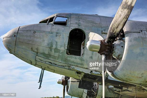 Old abandoned Douglas DC-3 airplane