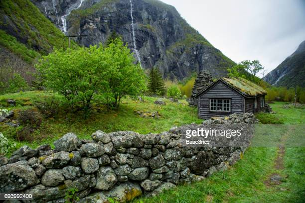 Old abandoned farm in Måbødalen (Måbø valley), Eidfjord, Norway