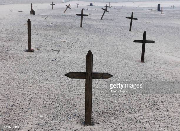Old abandoned graveyard in Walvis Bay, Namibia.