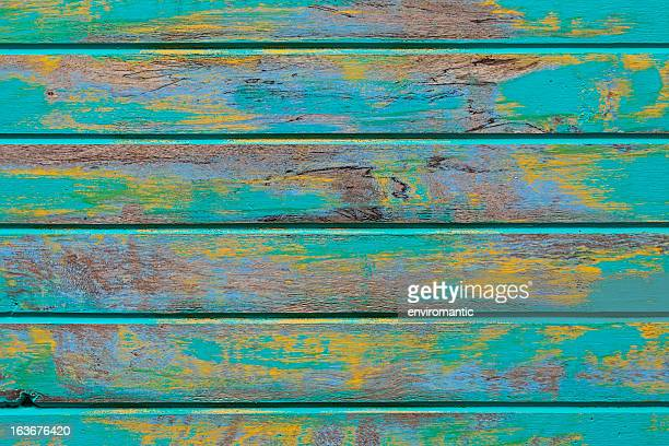 Old abstract turquoise wooden board texture.