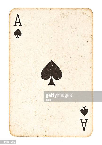 Old Ace of Spades Isolated on White