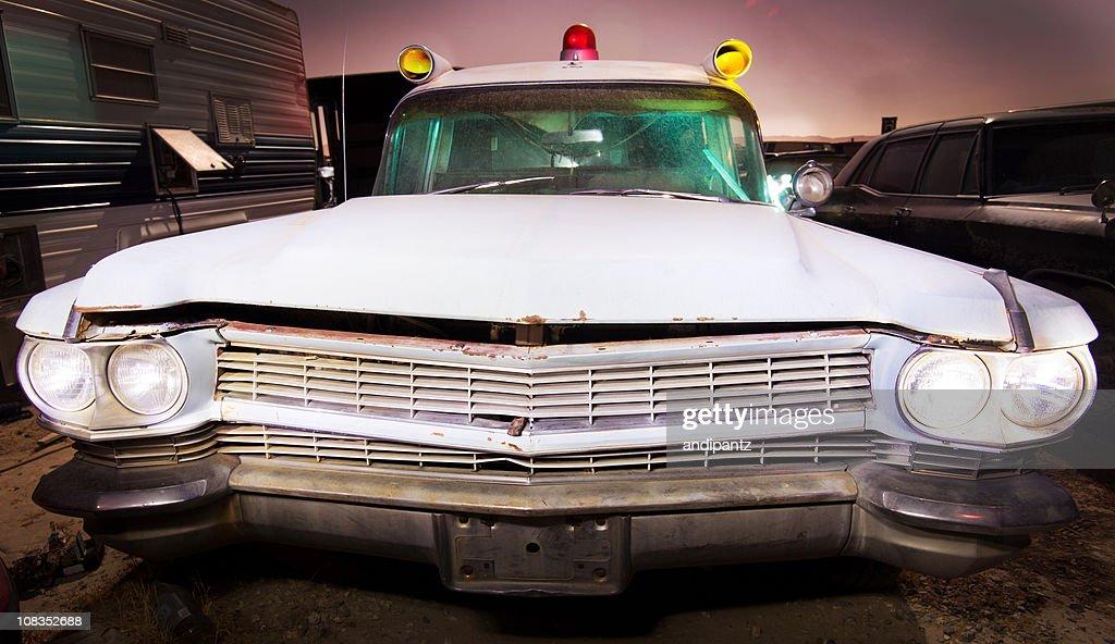 Old ambulance at night : Stock Photo