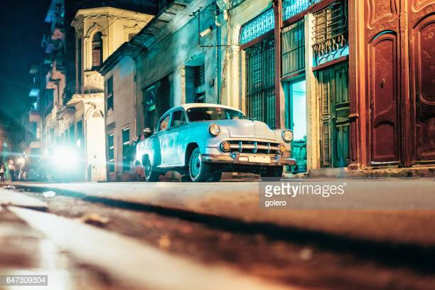 old american car in Old Havanna street at night