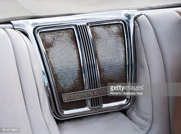 Old American car seat detail Metallic chrome Bonneville brand frame over leather seats Old American vehicles are used as tourist taxis in the...