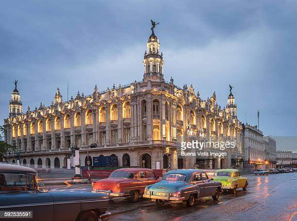Old American cars and the Cuban National Theater