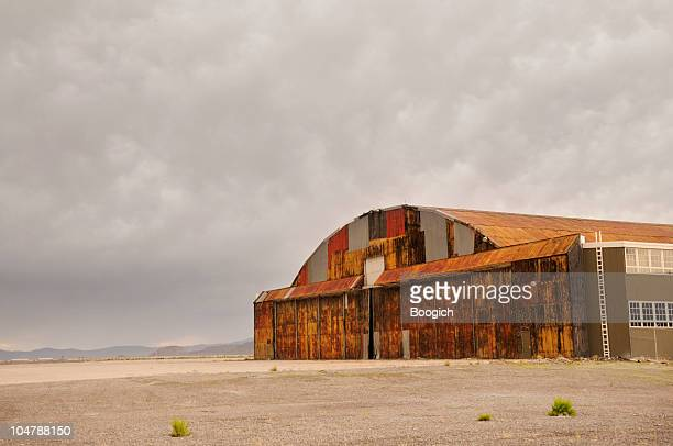 Old American History Military Airplane Hangar in Remote Western USA