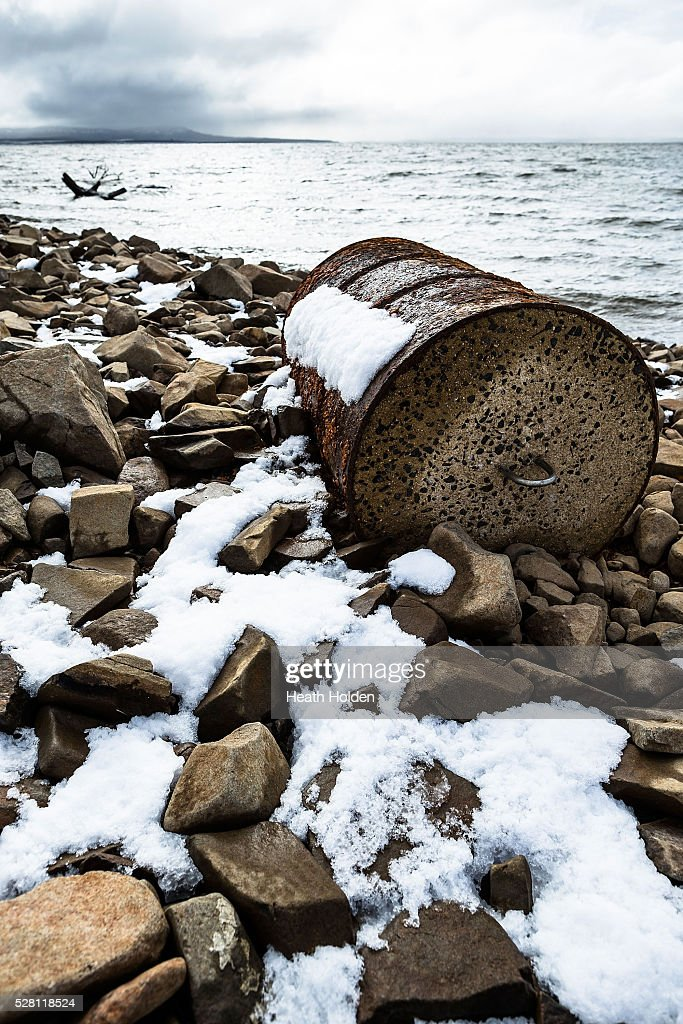 Old anchor points lay exposed around fresh snow and water near the dry dam wall area after several days of rain and snow on on May 4, 2016 in Great Lake, Australia. Heavy snow and rain fall in the area has seen much needed water flow into the lake. Tasmania's dams are at record lows due to lower than average rainfall with storage levels of dams used to generate hydro power below 15 per cent for the first time.