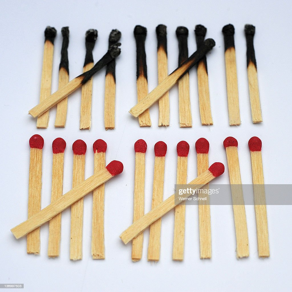 12 old and 12 new matches : Stock Photo