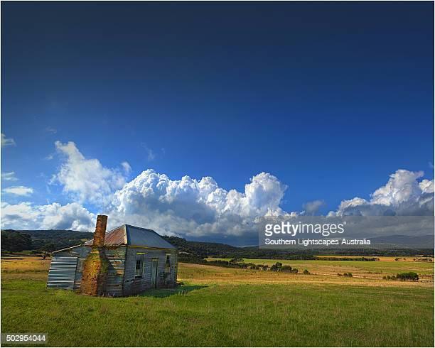 Old and abandoned hut at Sawyers Bay, Flinders Island, Bass Strait, Tasmania, Australia.