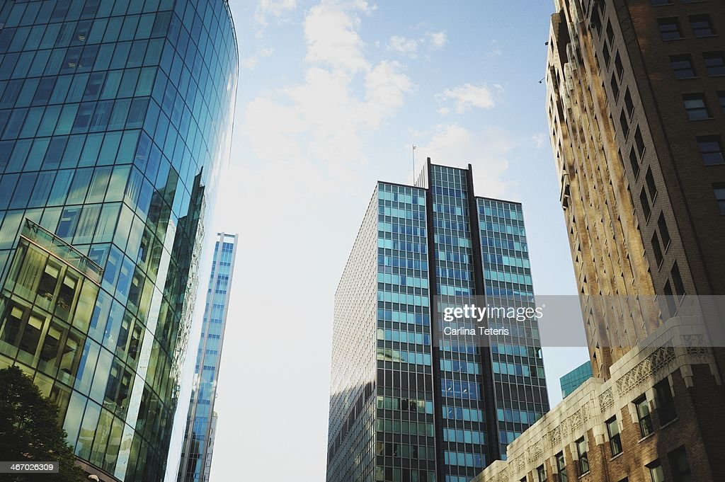 Old and new office towers, downtown Vancouver : Stock Photo