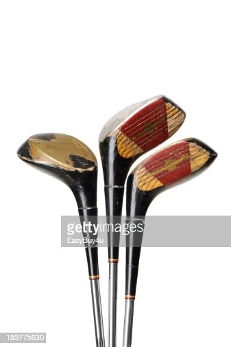 Old and used golf clubs
