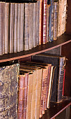 Library or bookstore detail - close up diagonal view of aged antique legal, scientific and educational books with leather covers on shelf. Selective focus on front part of the tomes perspective.