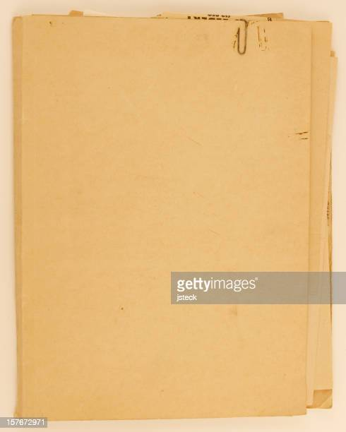 Vieux Antique dossier du fichier avec le trombone métaux