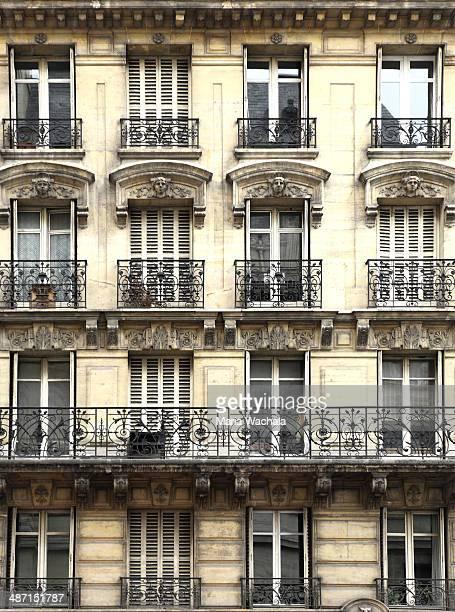 Old Apartment Building Facade with Balcony. Paris