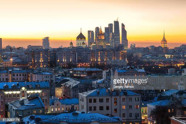Old architecture of Moscow at dusk