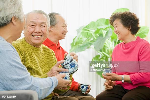 Old Asian Couples drinking tea
