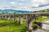 Old Austrian bridge viaduct in the Carpathians