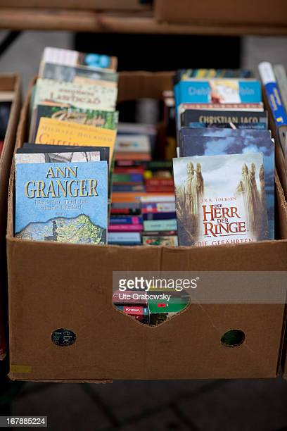 Old banana box filled with books