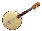 Antique six-string banjo on a white background
