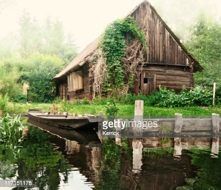 Old barn and boat in Spreewald /Germany