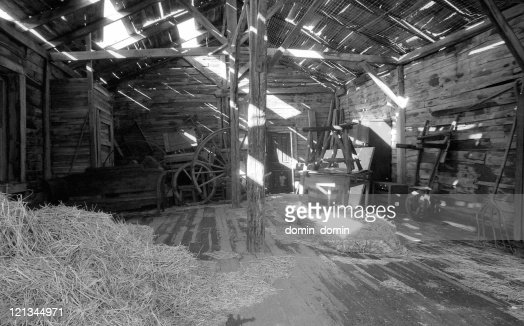 Old Barn Interior With Flashing Lights Through Leaky Roof Stock ...