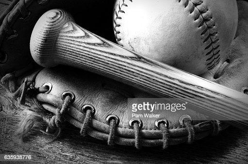 Old Baseball and Bat : Stock Photo