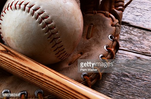 Old Baseball Equipment : Stock Photo