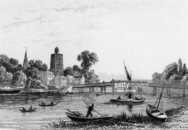 Old Battersea Bridge in Battersea southwest London circa 1800 Drawn and engraved for Dugdale's England