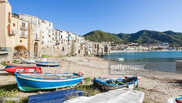 Old beach in Cefalù with fishing boats, Sicily Italy