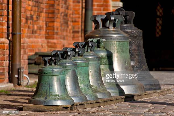 Old Bells aligned in Riga Cathedral interior garde