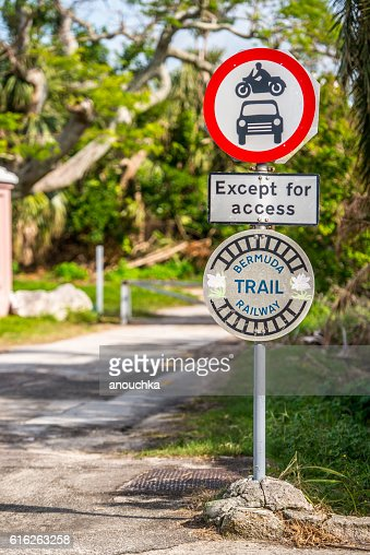 Old Bermuda railway sign, now a hiking trail : Stock Photo