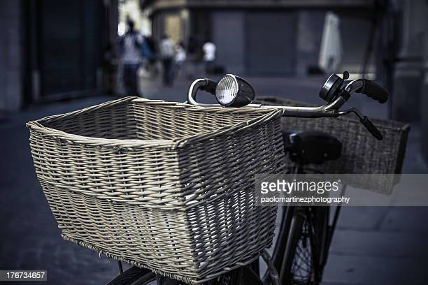 old bicycle with wicker basket