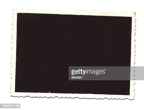 Marco de fotos retro antiguo (en blanco con trazado de recorte)  : Foto de stock