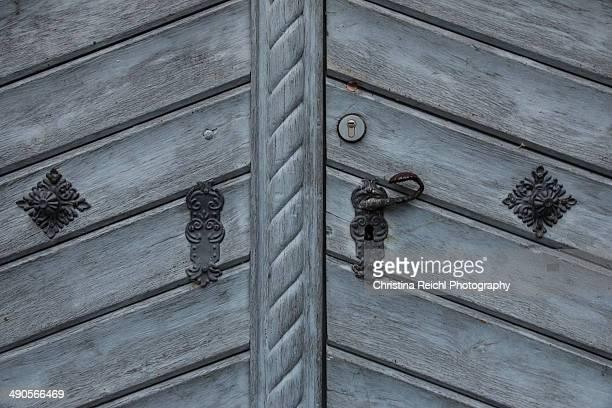 Old blue wooden door.