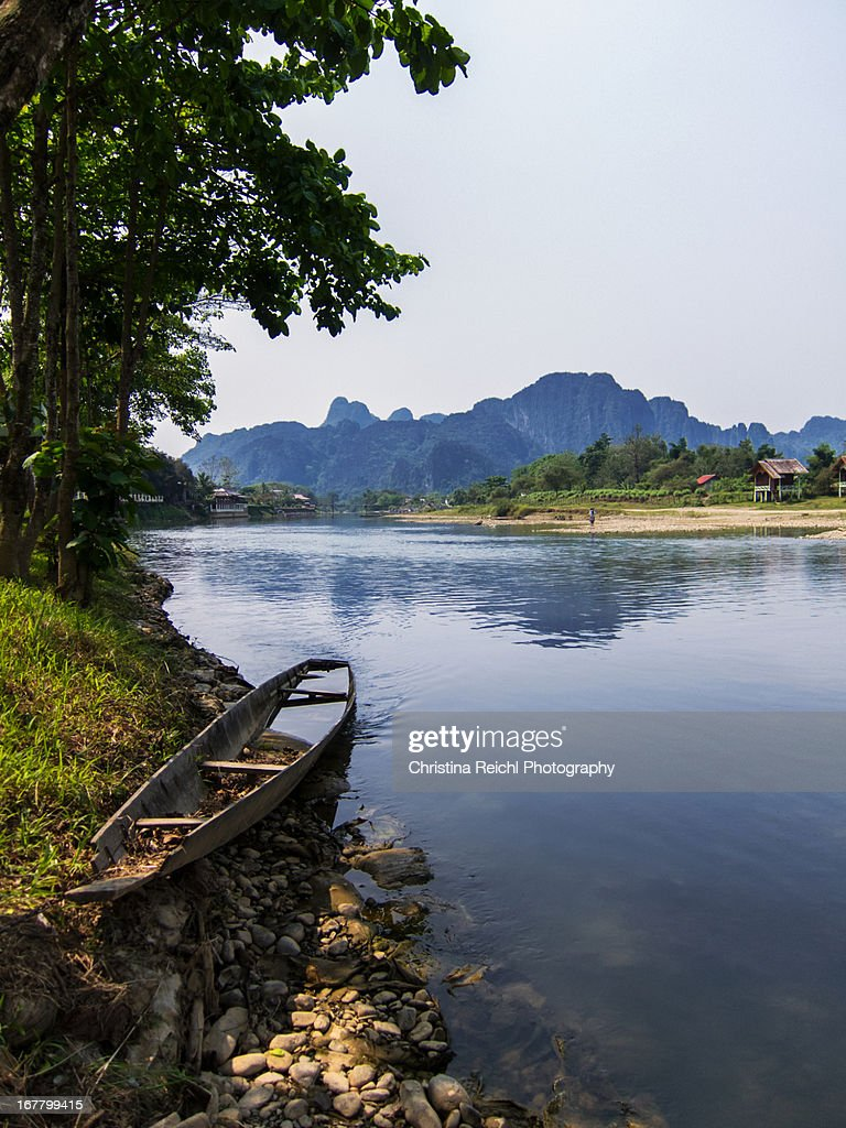 Old Boat near nam Song and mountain range
