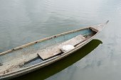 old boat on canal in country Thailand