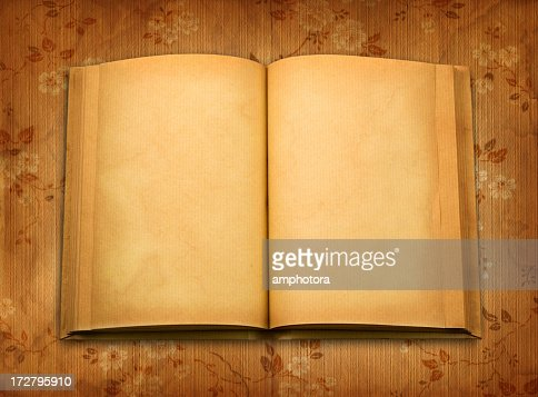 A old book open to blank pages