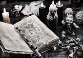 Halloween, occult, esoteric and wicca concept. Vintage background