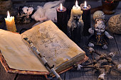 Occult, esoteric, divination and wicca concept. Halloween background.