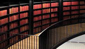 A look at the old books in a modern library.