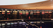 Old books in modern library.