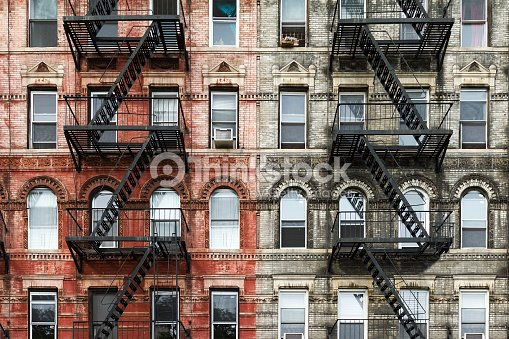 Old Brick Apartment Buildings In New York City Stock Photo