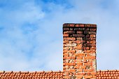 Old brick chimney. Chimney with sky in the background. Eco-friendly heating of a family house