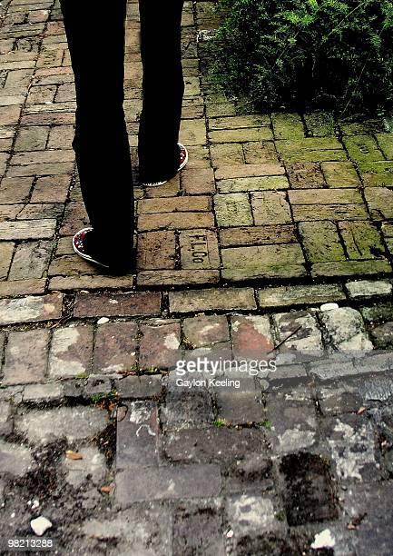 Old brick sidewalk in New Orleans