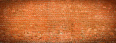 Old Brick wall panoramic view. Grunge vintage background.