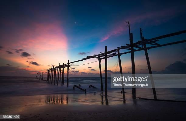Old bridge and sunset