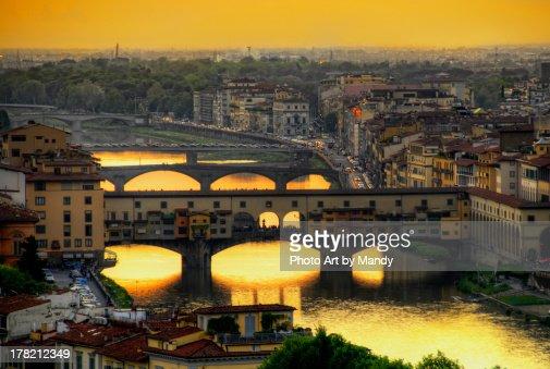 Old Bridge, Florence at dusk