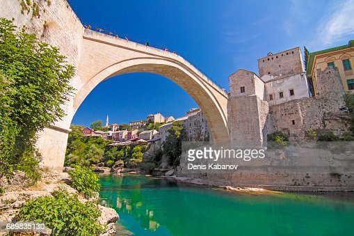 Old bridge over Neretva river in Mostar, Bosnia and Herzegovina : Stock Photo