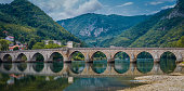 Famous bridge in Visegrad, on river Drina, Bosnia and Herzegovina
